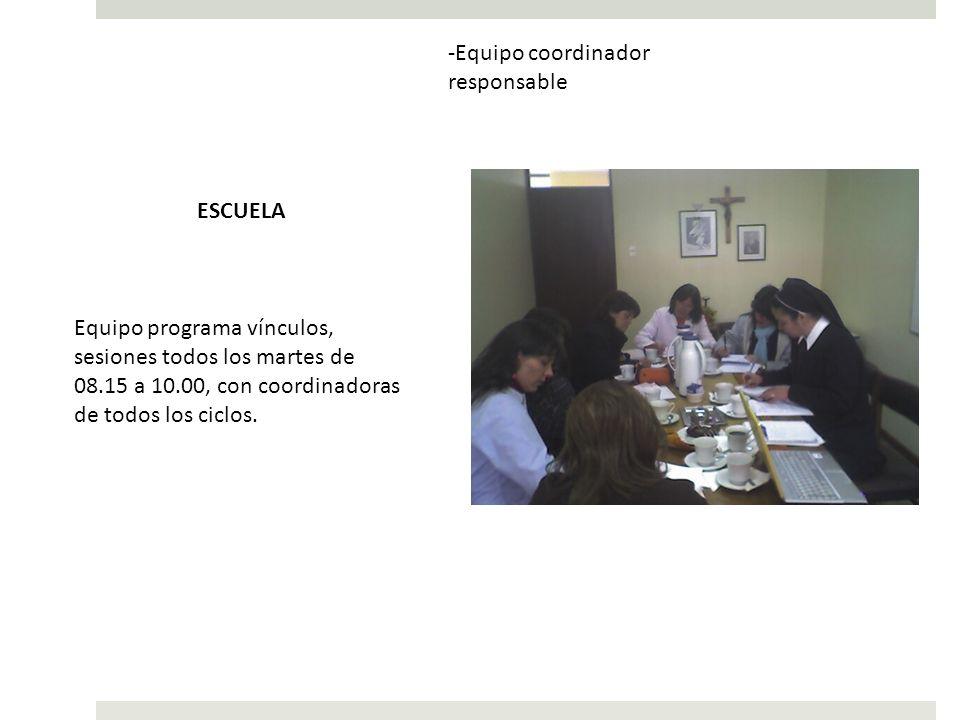 -Equipo coordinador responsable Equipo programa vínculos, sesiones todos los martes de 08.15 a 10.00, con coordinadoras de todos los ciclos. ESCUELA