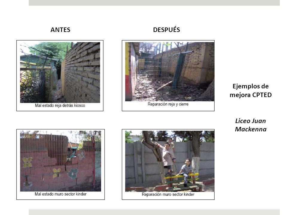 ANTESDESPUÉS Ejemplos de mejora CPTED Liceo Juan Mackenna