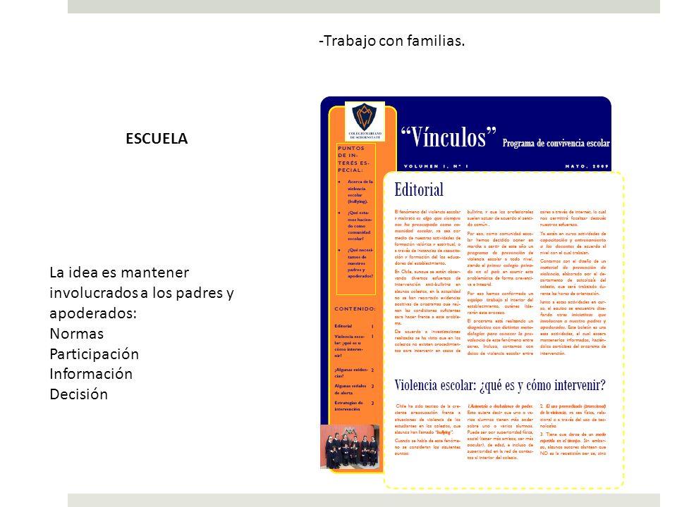 -Trabajo con familias. La idea es mantener involucrados a los padres y apoderados: Normas Participación Información Decisión ESCUELA