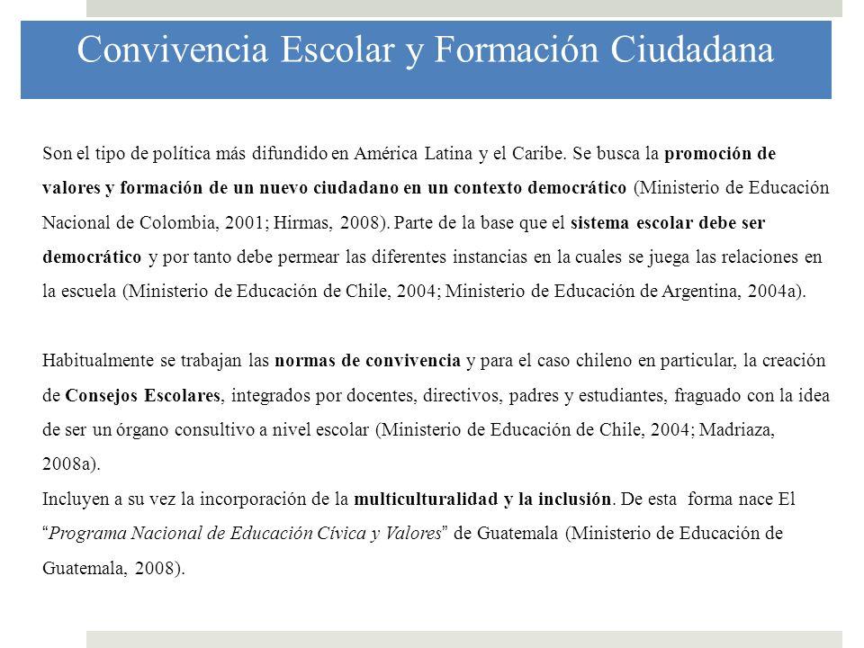Convivencia Escolar y Formación Ciudadana Son el tipo de política más difundido en América Latina y el Caribe. Se busca la promoción de valores y form