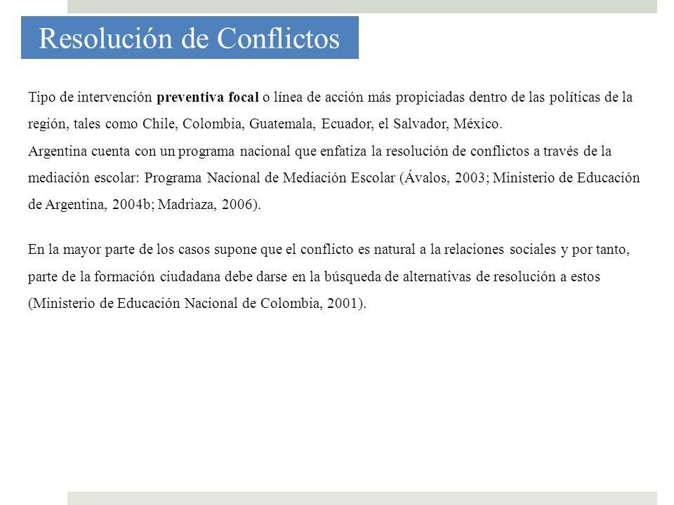 Resolución de Conflictos Tipo de intervención preventiva focal o línea de acción más propiciadas dentro de las políticas de la región, tales como Chil