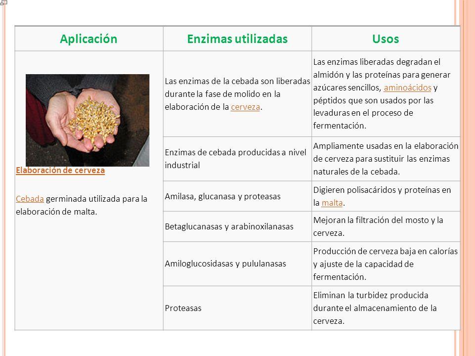 A PLICACIONES INDUSTRIALES AplicaciónEnzimas utilizadasUsos Procesado de alimentos La amilasa cataliza la degradación del almidón en azúcares sencillos.