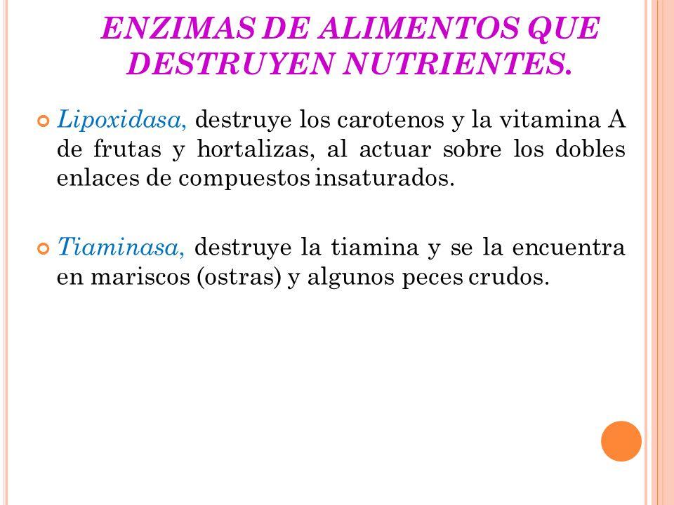 I NHIBICIÓN DE ENZIMAS POR COMPONENTES DE ALIMENTOS Factor antitríptico, que se encuentra en el poroto de soya, clara de huevo (ovomucoide) y zumo de papa cruda.
