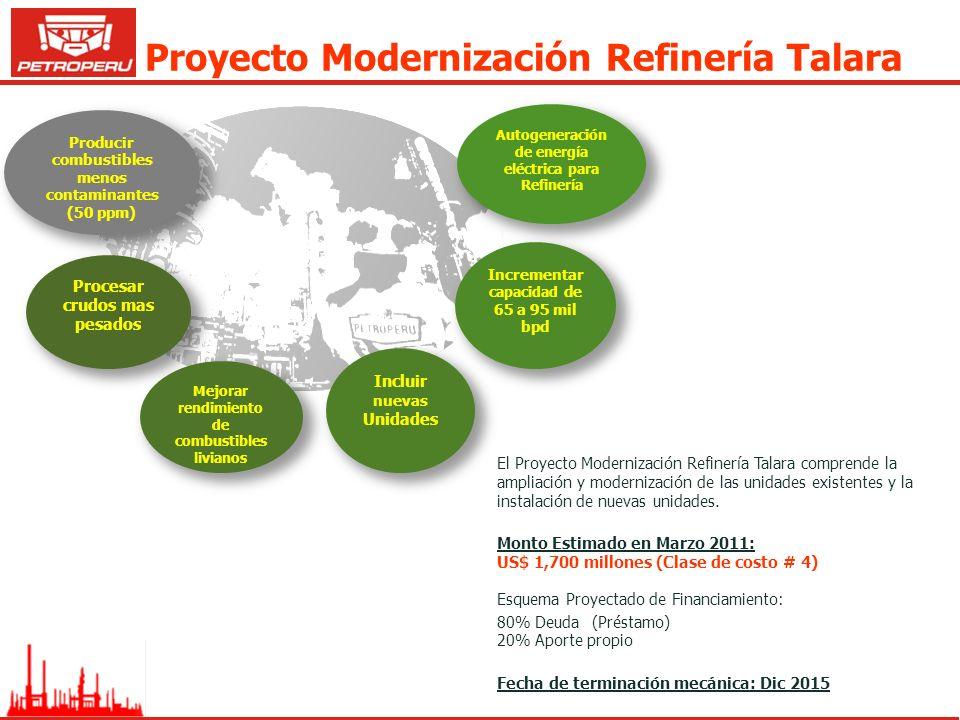 Proyecto Modernización Refinería Talara Incluir nuevas Unidades Procesar crudos mas pesados Mejorar rendimiento de combustibles livianos Incrementar c