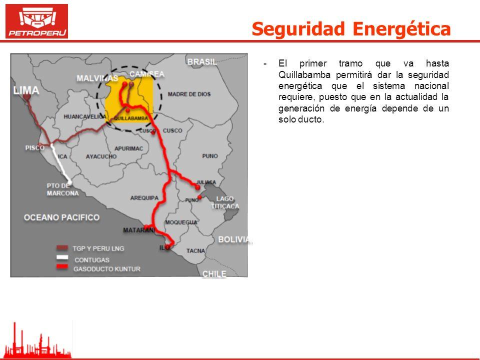 Seguridad Energética -El primer tramo que va hasta Quillabamba permitirá dar la seguridad energética que el sistema nacional requiere, puesto que en l