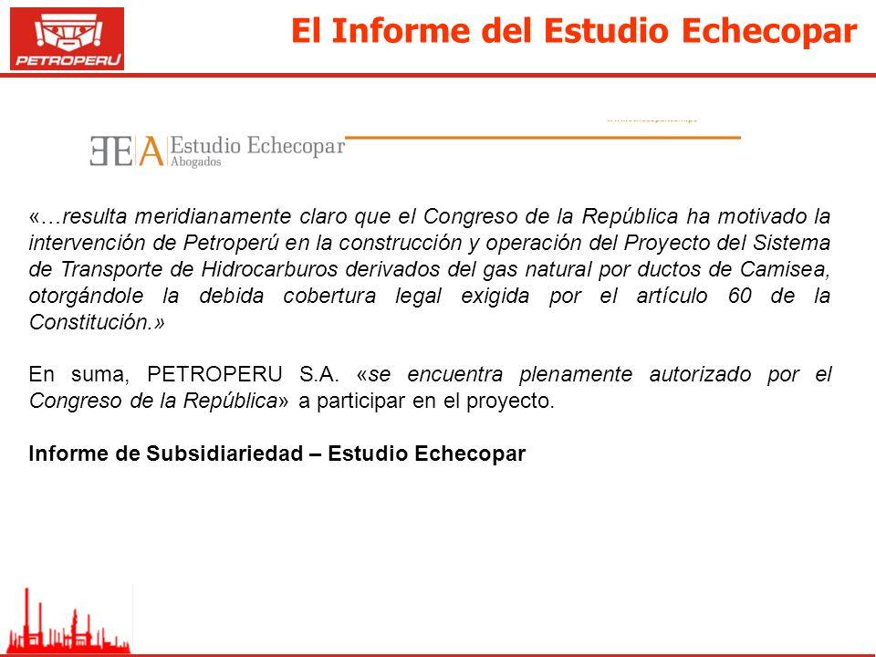 El Informe del Estudio Echecopar «…resulta meridianamente claro que el Congreso de la República ha motivado la intervención de Petroperú en la constru