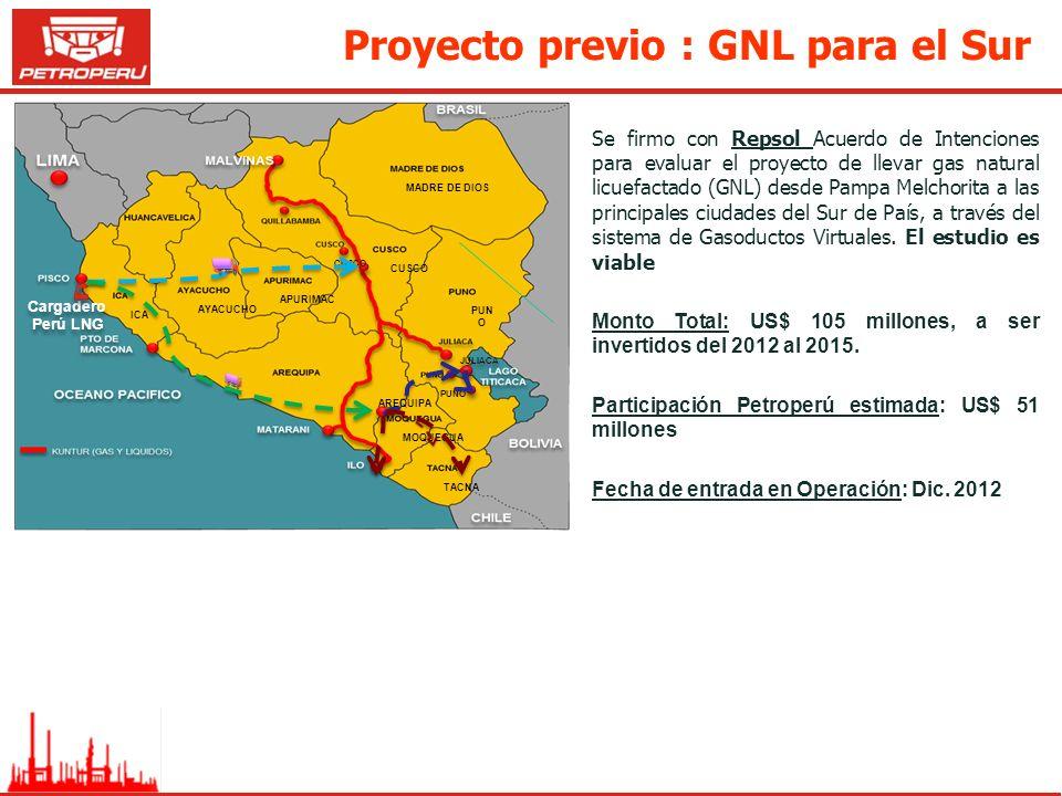 Proyecto previo : GNL para el Sur Se firmo con Repsol Acuerdo de Intenciones para evaluar el proyecto de llevar gas natural licuefactado (GNL) desde P