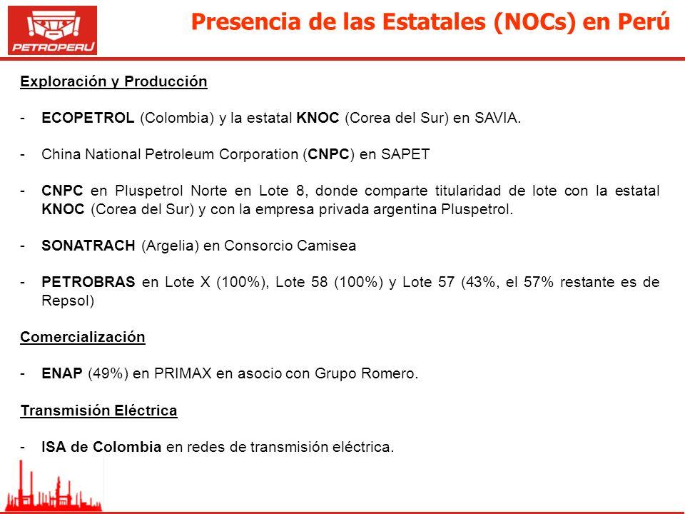 Presencia de las Estatales (NOCs) en Perú Exploración y Producción -ECOPETROL (Colombia) y la estatal KNOC (Corea del Sur) en SAVIA. -China National P