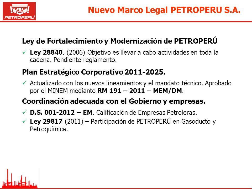 Nuevo Marco Legal PETROPERU S.A. Ley de Fortalecimiento y Modernización de PETROPERÚ Ley 28840. (2006) Objetivo es llevar a cabo actividades en toda l