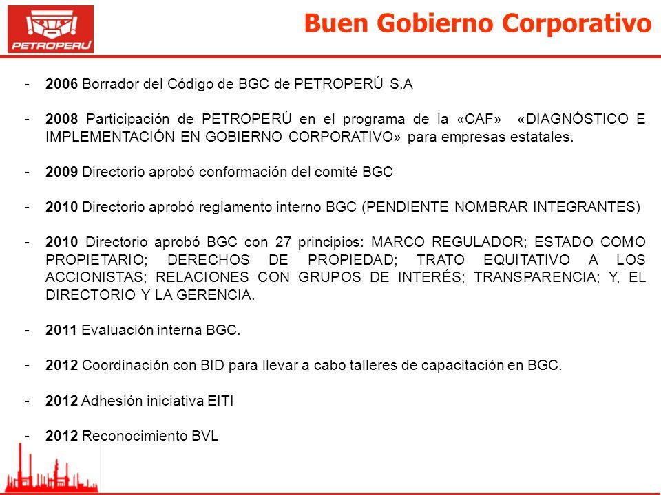 Buen Gobierno Corporativo -2006 Borrador del Código de BGC de PETROPERÚ S.A -2008 Participación de PETROPERÚ en el programa de la «CAF» «DIAGNÓSTICO E