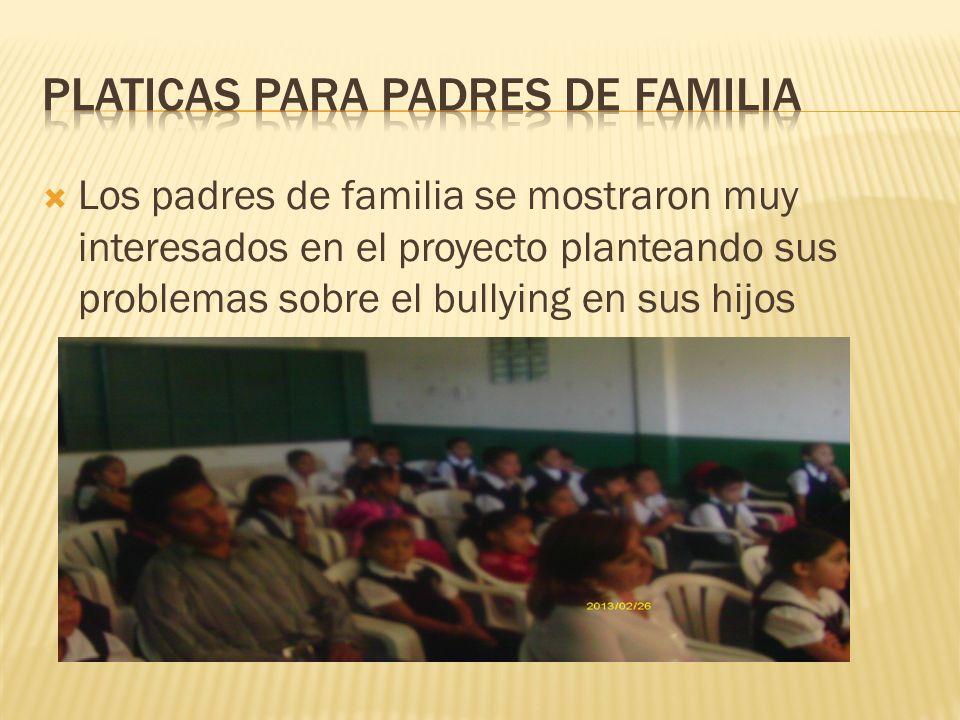 Los padres de familia se mostraron muy interesados en el proyecto planteando sus problemas sobre el bullying en sus hijos