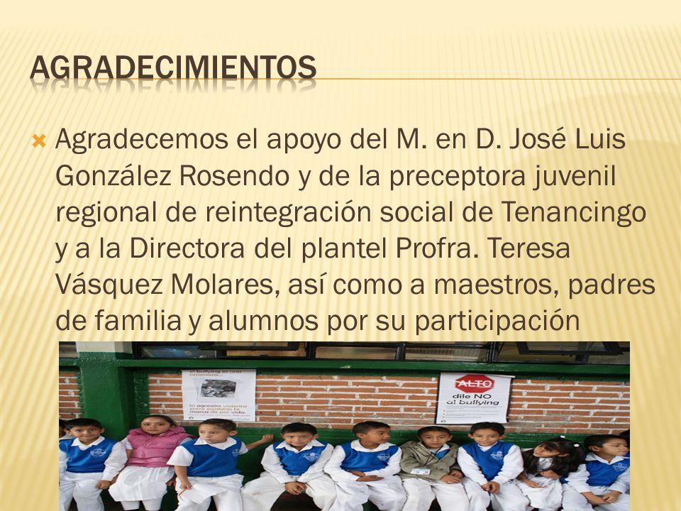 Agradecemos el apoyo del M. en D. José Luis González Rosendo y de la preceptora juvenil regional de reintegración social de Tenancingo y a la Director