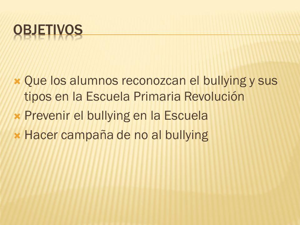 Que los alumnos reconozcan el bullying y sus tipos en la Escuela Primaria Revolución Prevenir el bullying en la Escuela Hacer campaña de no al bullyin