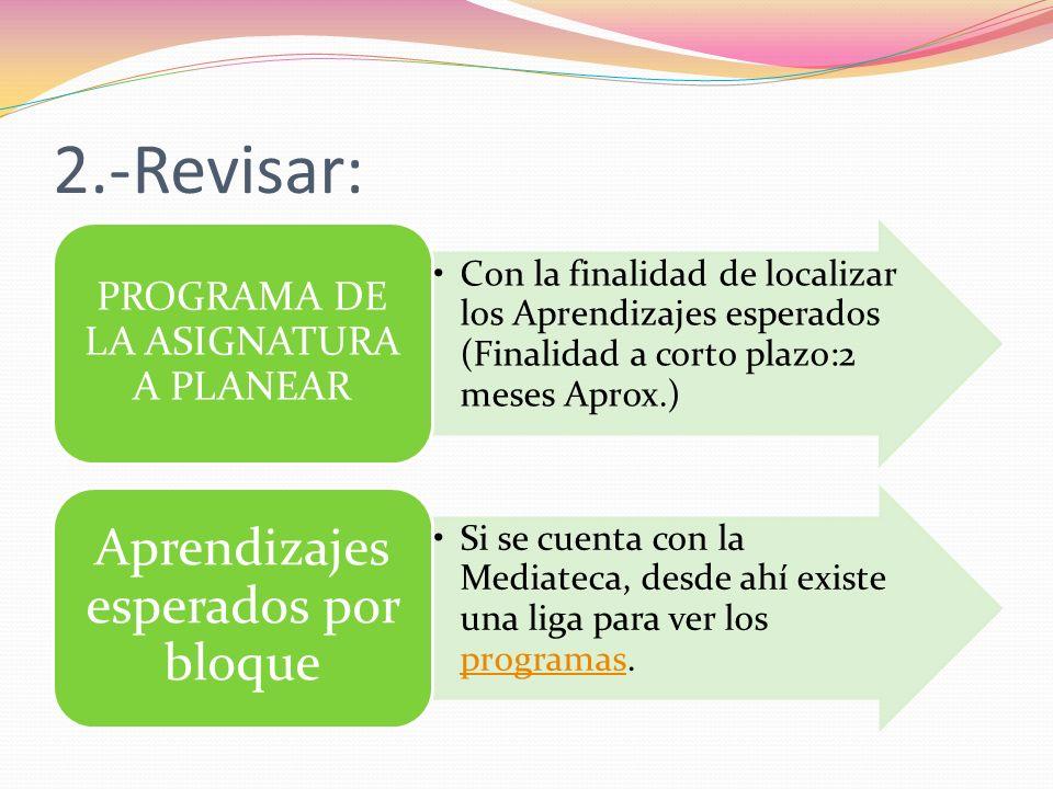 2.-Revisar: Con la finalidad de localizar los Aprendizajes esperados (Finalidad a corto plazo:2 meses Aprox.) PROGRAMA DE LA ASIGNATURA A PLANEAR Si s