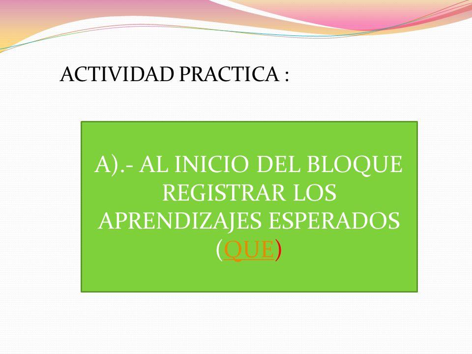 A).- AL INICIO DEL BLOQUE REGISTRAR LOS APRENDIZAJES ESPERADOS (QUE)QUE ACTIVIDAD PRACTICA :