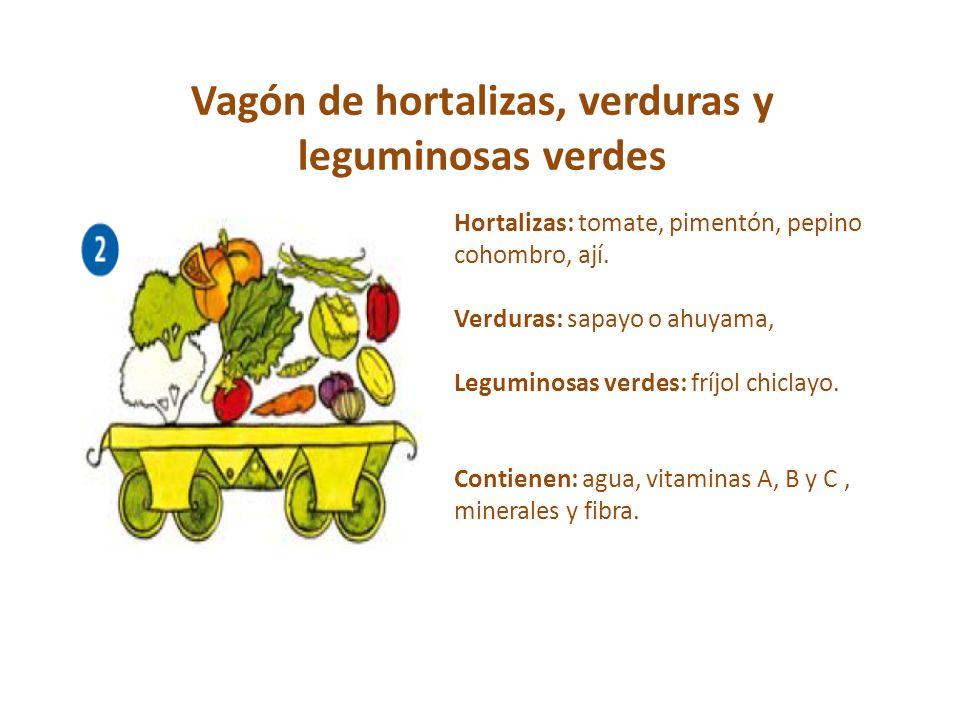 Vagón de hortalizas, verduras y leguminosas verdes Hortalizas: tomate, pimentón, pepino cohombro, ají. Verduras: sapayo o ahuyama, Leguminosas verdes: