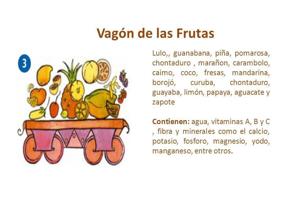 Vagón de las Frutas Lulo,, guanabana, piña, pomarosa, chontaduro, marañon, carambolo, caimo, coco, fresas, mandarina, borojó, curuba, chontaduro, guay