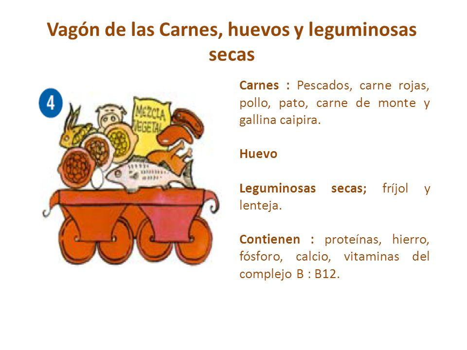 Vagón de las Carnes, huevos y leguminosas secas Carnes : Pescados, carne rojas, pollo, pato, carne de monte y gallina caipira. Huevo Leguminosas secas