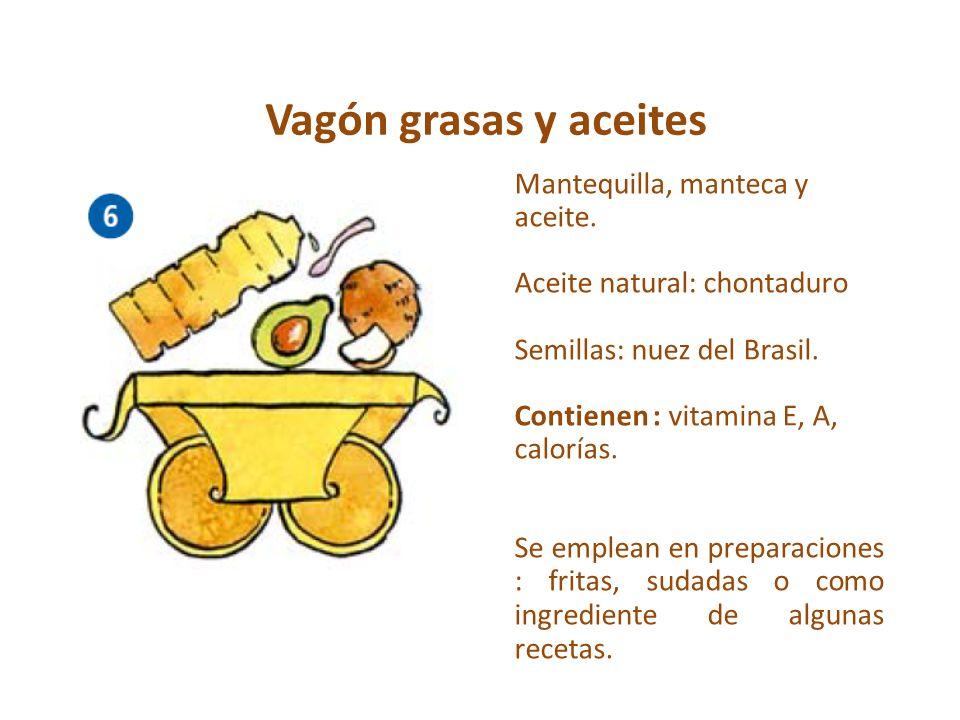 Vagón grasas y aceites Mantequilla, manteca y aceite. Aceite natural: chontaduro Semillas: nuez del Brasil. Contienen : vitamina E, A, calorías. Se em