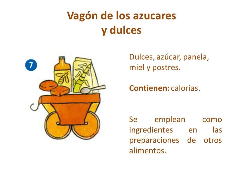 Vagón de los azucares y dulces Dulces, azúcar, panela, miel y postres. Contienen: calorías. Se emplean como ingredientes en las preparaciones de otros