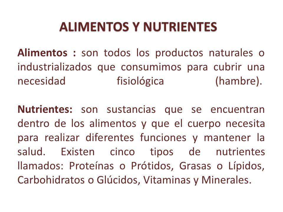 Alimentos : son todos los productos naturales o industrializados que consumimos para cubrir una necesidad fisiológica (hambre). Nutrientes: son sustan