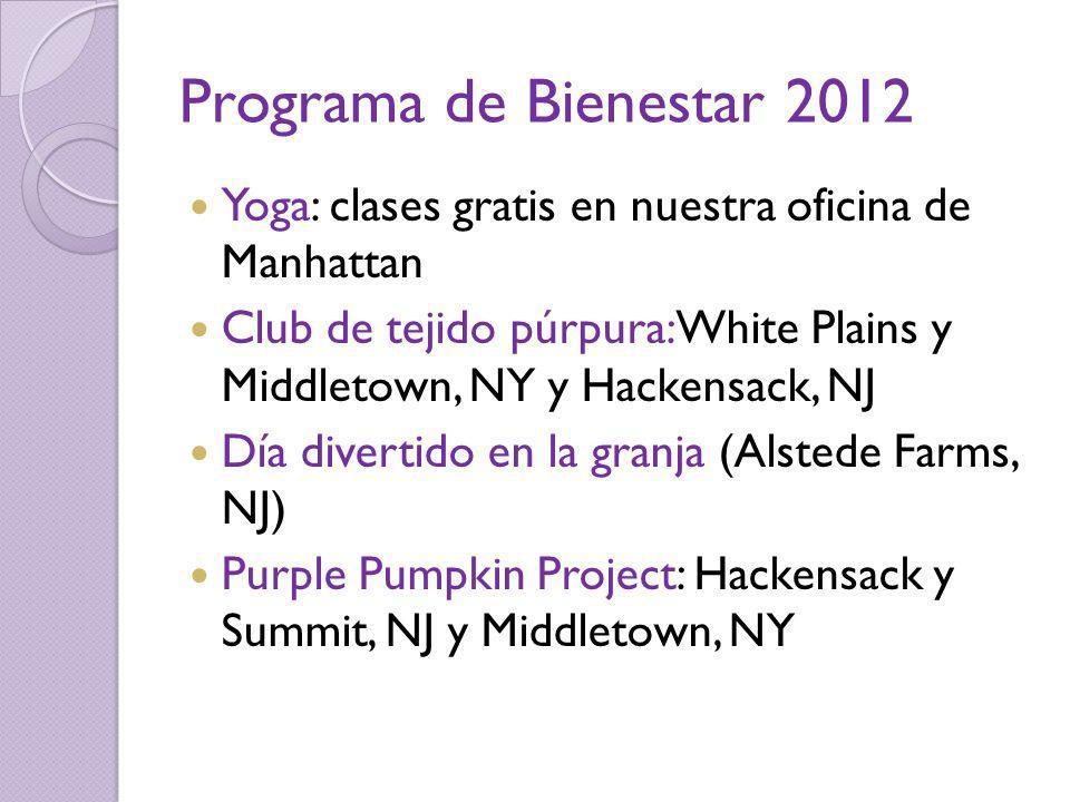Programa de Bienestar 2012 Yoga: clases gratis en nuestra oficina de Manhattan Club de tejido púrpura: White Plains y Middletown, NY y Hackensack, NJ