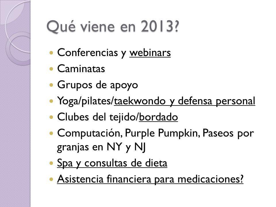 Qué viene en 2013? Conferencias y webinars Caminatas Grupos de apoyo Yoga/pilates/taekwondo y defensa personal Clubes del tejido/bordado Computación,