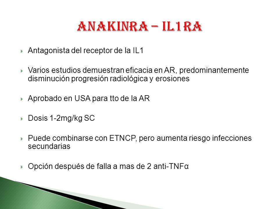 Antagonista del receptor de la IL1 Varios estudios demuestran eficacia en AR, predominantemente disminución progresión radiológica y erosiones Aprobado en USA para tto de la AR Dosis 1-2mg/kg SC Puede combinarse con ETNCP, pero aumenta riesgo infecciones secundarias Opción después de falla a mas de 2 anti-TNFα