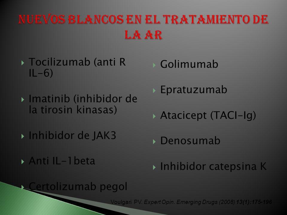 Tocilizumab (anti R IL-6) Imatinib (inhibidor de la tirosin kinasas) Inhibidor de JAK3 Anti IL-1beta Certolizumab pegol Golimumab Epratuzumab Atacicept (TACI-Ig) Denosumab Inhibidor catepsina K Voulgari PV.