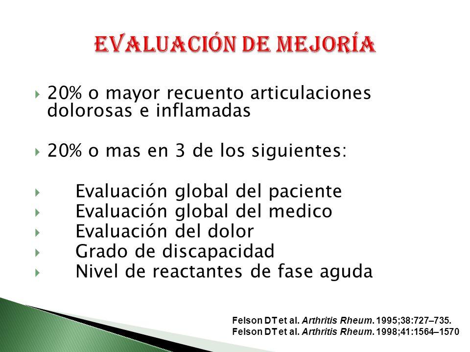 20% o mayor recuento articulaciones dolorosas e inflamadas 20% o mas en 3 de los siguientes: Evaluación global del paciente Evaluación global del medico Evaluación del dolor Grado de discapacidad Nivel de reactantes de fase aguda Felson DT et al.