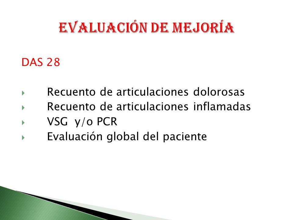 DAS 28 Recuento de articulaciones dolorosas Recuento de articulaciones inflamadas VSG y/o PCR Evaluación global del paciente