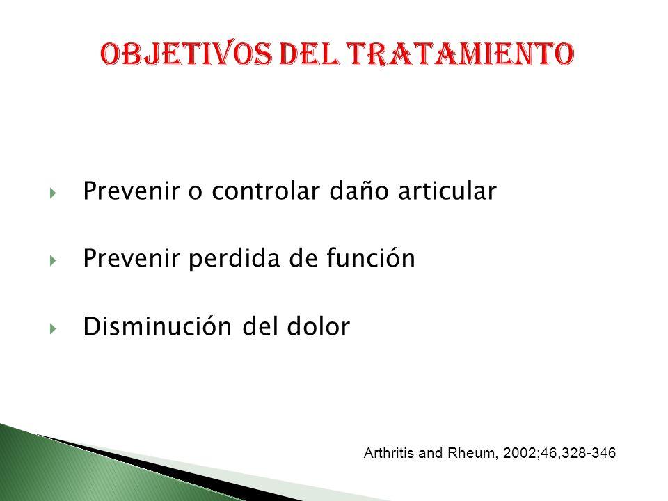 Prevenir o controlar daño articular Prevenir perdida de función Disminución del dolor Arthritis and Rheum, 2002;46,328-346