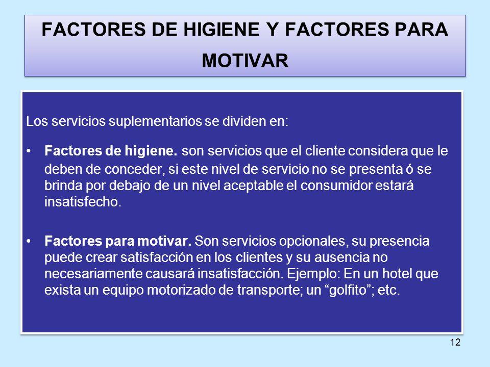 12 FACTORES DE HIGIENE Y FACTORES PARA MOTIVAR Los servicios suplementarios se dividen en: Factores de higiene. son servicios que el cliente considera