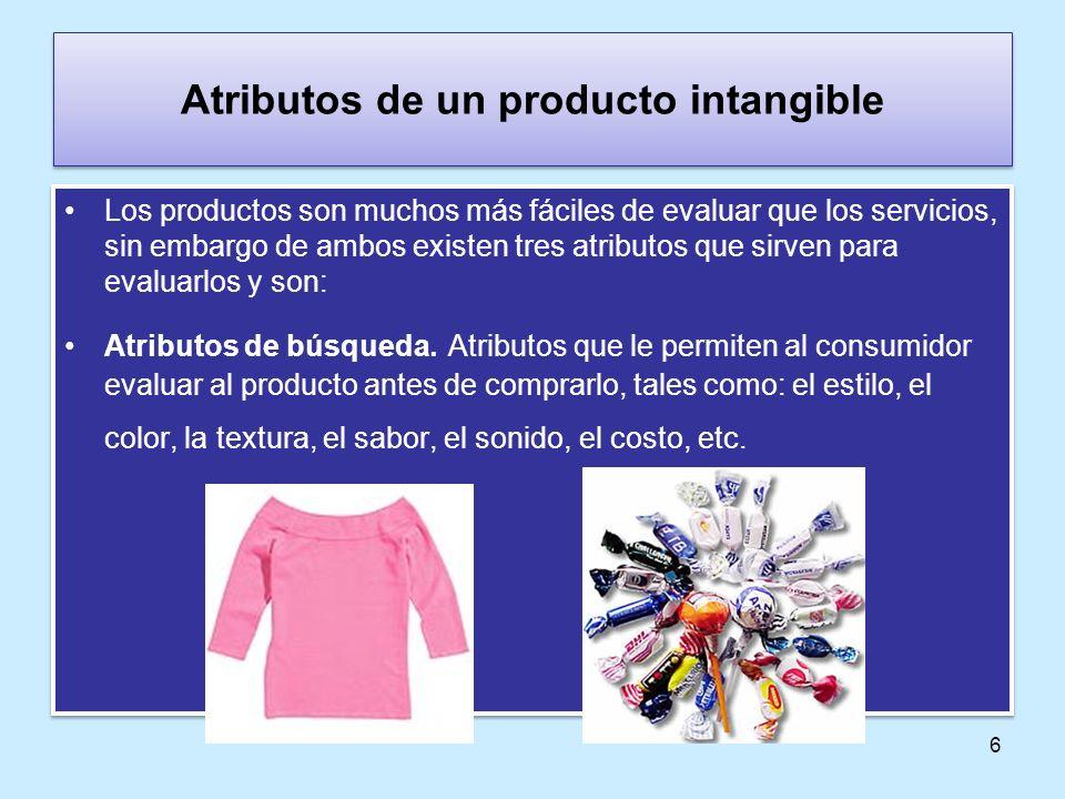 6 Atributos de un producto intangible Los productos son muchos más fáciles de evaluar que los servicios, sin embargo de ambos existen tres atributos q