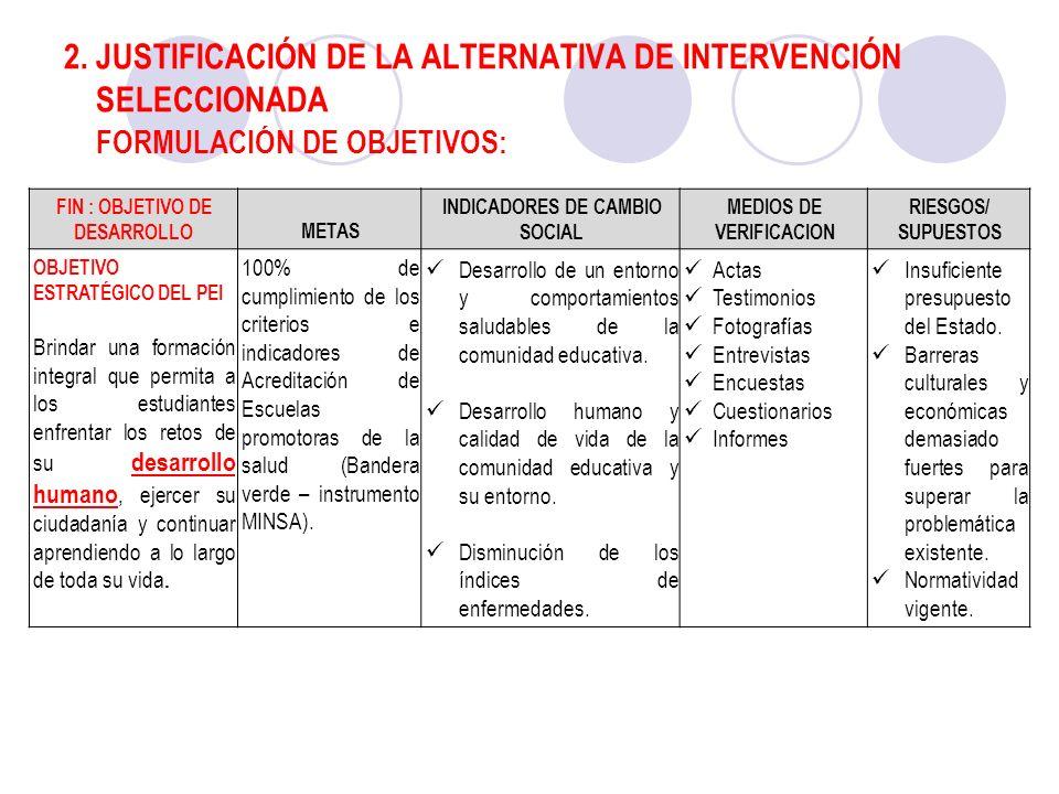 2. JUSTIFICACIÓN DE LA ALTERNATIVA DE INTERVENCIÓN SELECCIONADA FORMULACIÓN DE OBJETIVOS: FIN : OBJETIVO DE DESARROLLOMETAS INDICADORES DE CAMBIO SOCI