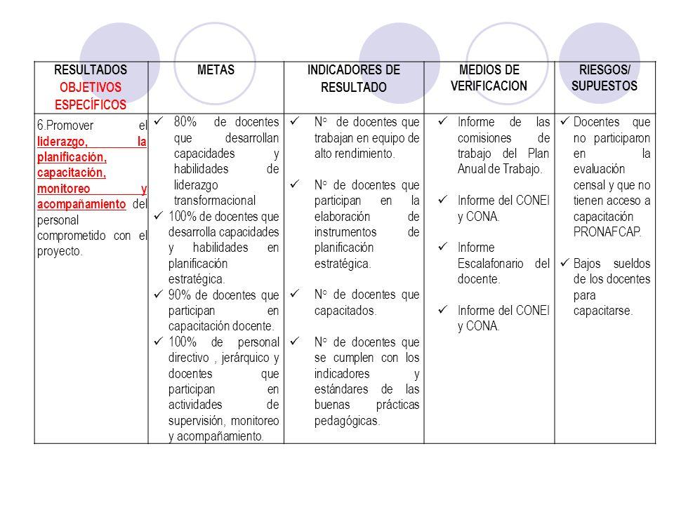 RESULTADOS OBJETIVOS ESPECÍFICOS METAS INDICADORES DE RESULTADO MEDIOS DE VERIFICACION RIESGOS/ SUPUESTOS 6.Promover el liderazgo, la planificación, c