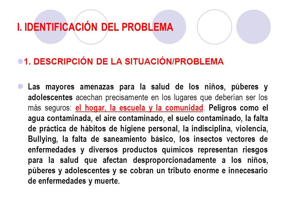 I. IDENTIFICACIÓN DEL PROBLEMA 1. DESCRIPCIÓN DE LA SITUACIÓN/PROBLEMA Las mayores amenazas para la salud de los niños, púberes y adolescentes acechan