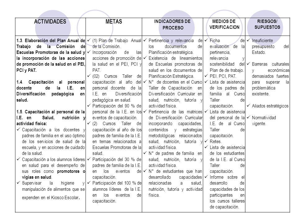 ACTIVIDADESMETAS INDICADORES DE PROCESO MEDIOS DE VERIFICACION RIESGOS/ SUPUESTOS 1.3. Elaboración del Plan Anual de Trabajo de la Comisión de Escuela