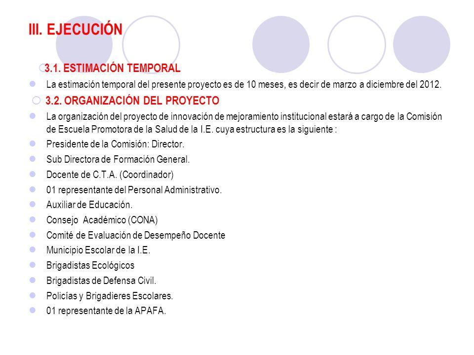 III. EJECUCIÓN 3.1. ESTIMACIÓN TEMPORAL La estimación temporal del presente proyecto es de 10 meses, es decir de marzo a diciembre del 2012. 3.2. ORGA
