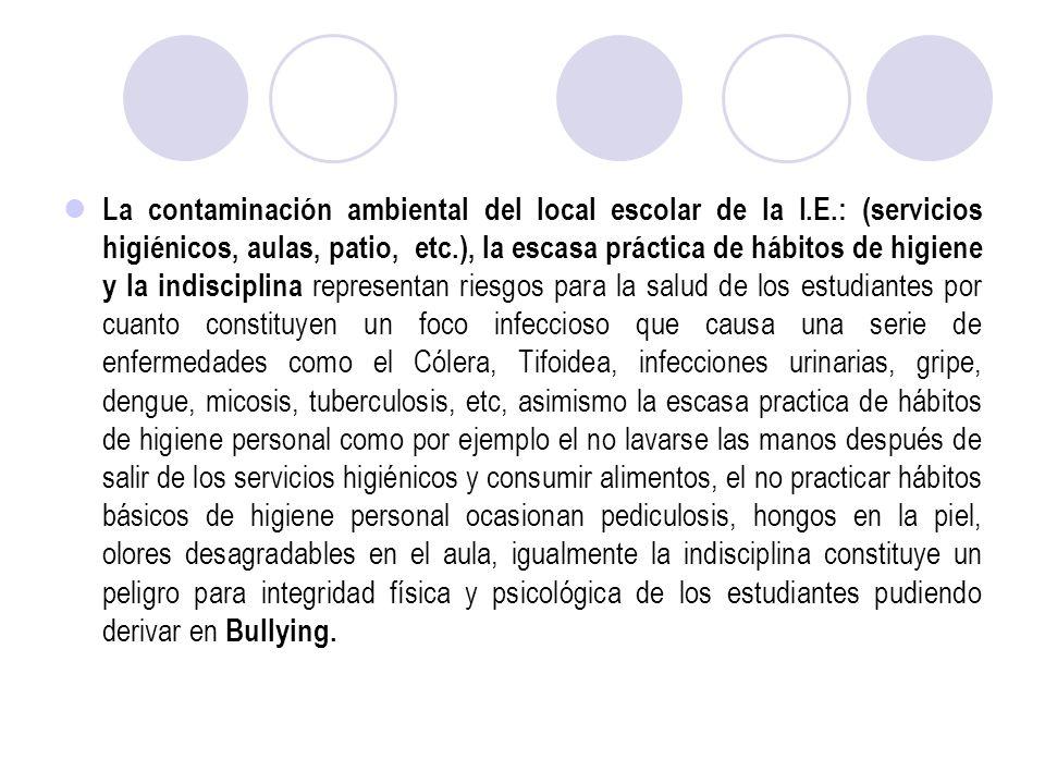 La contaminación ambiental del local escolar de la I.E.: (servicios higiénicos, aulas, patio, etc.), la escasa práctica de hábitos de higiene y la ind
