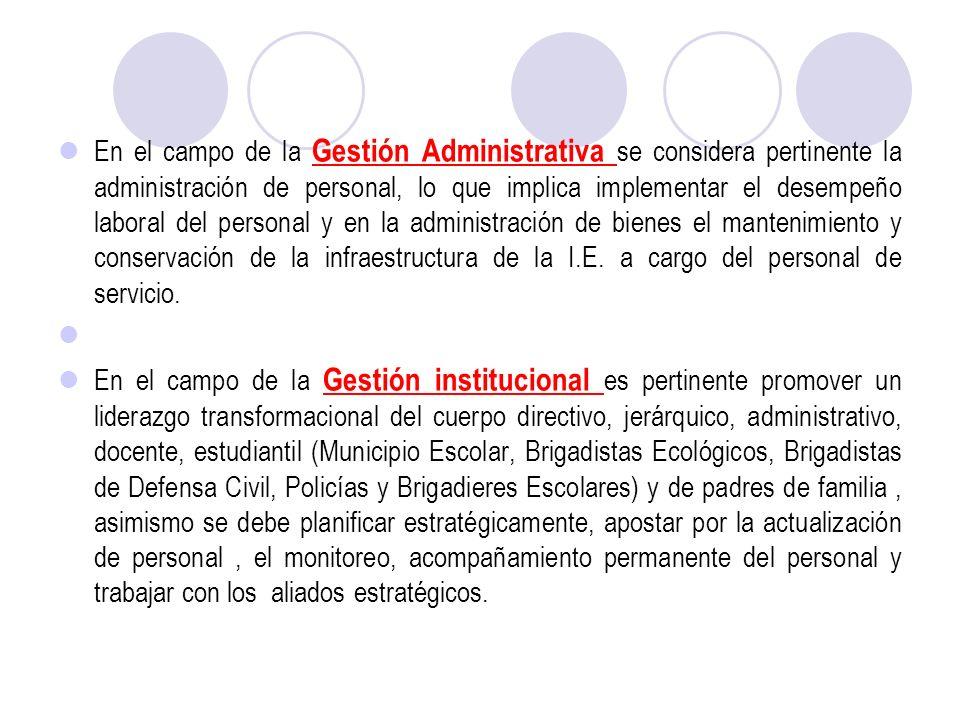 En el campo de la Gestión Administrativa se considera pertinente la administración de personal, lo que implica implementar el desempeño laboral del pe