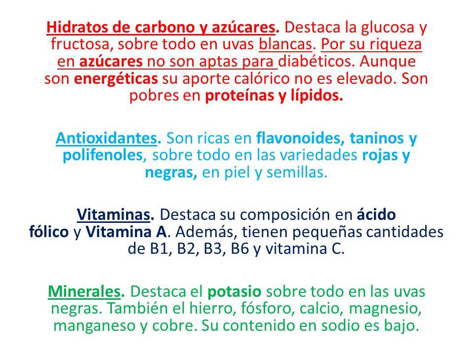 Hidratos de carbono y azúcares.Destaca la glucosa y fructosa, sobre todo en uvas blancas.