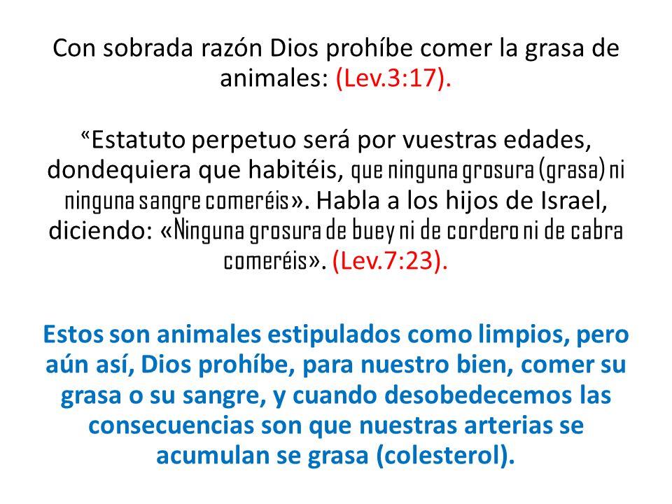 Con sobrada razón Dios prohíbe comer la grasa de animales: (Lev.3:17).
