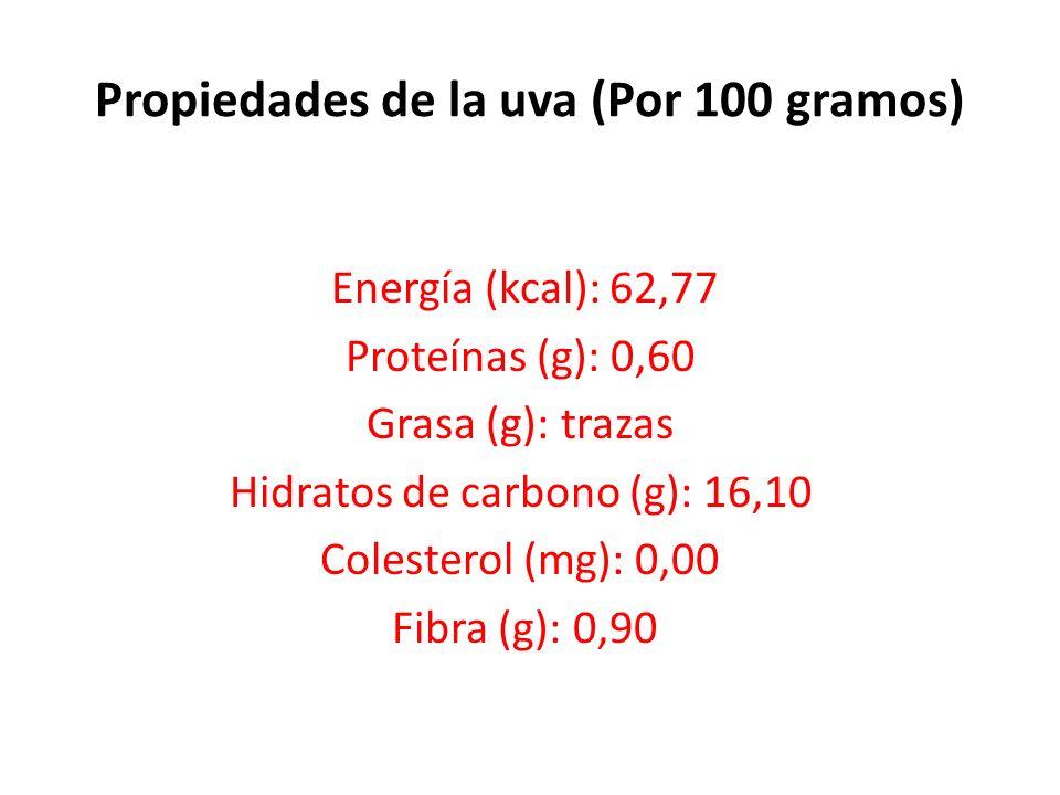 Propiedades de la uva (Por 100 gramos) Energía (kcal): 62,77 Proteínas (g): 0,60 Grasa (g): trazas Hidratos de carbono (g): 16,10 Colesterol (mg): 0,00 Fibra (g): 0,90