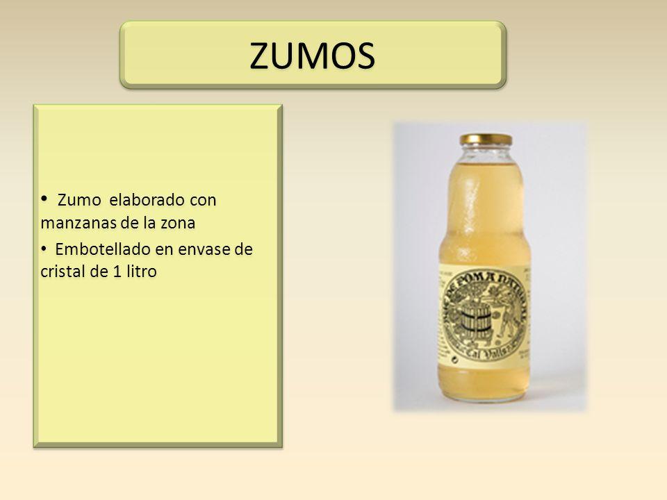 Zumo elaborado con manzanas de la zona Embotellado en envase de cristal de 1 litro Zumo elaborado con manzanas de la zona Embotellado en envase de cri