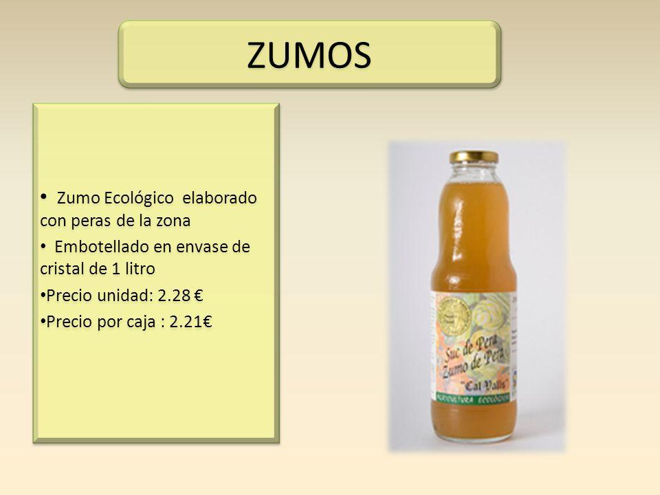 Zumo Ecológico elaborado con peras de la zona Embotellado en envase de cristal de 1 litro Precio unidad: 2.28 Precio por caja : 2.21 Zumo Ecológico el
