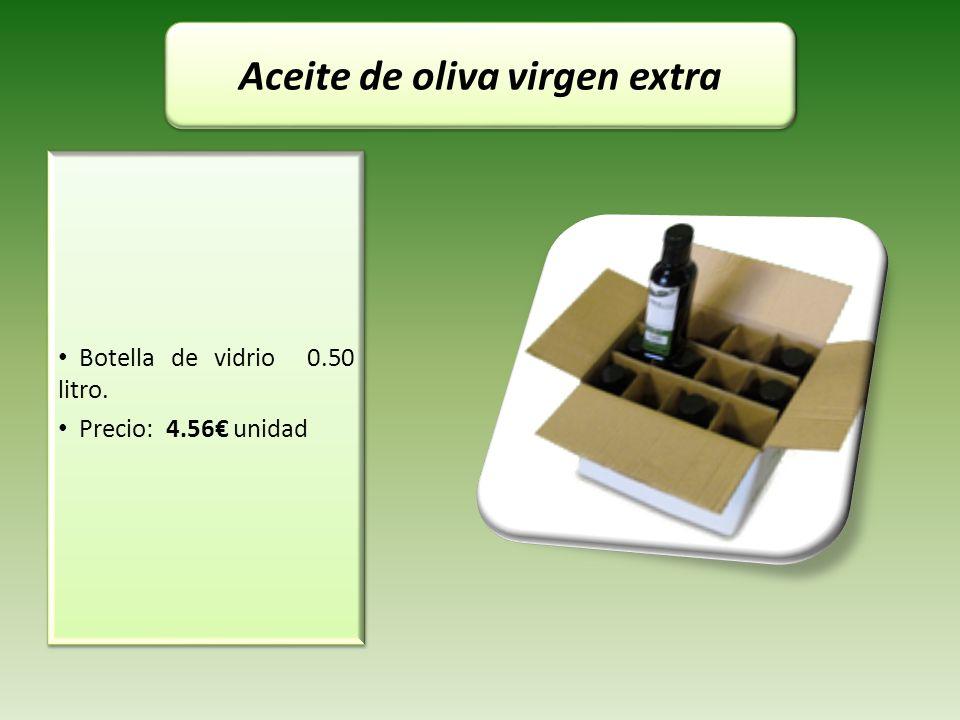 Botella de vidrio 0.50 litro. Precio: 4.56 unidad Botella de vidrio 0.50 litro. Precio: 4.56 unidad Aceite de oliva virgen extra