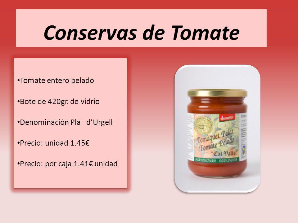 Conservas de Tomate Tomate entero pelado Bote de 420gr. de vidrio Denominación Pla dUrgell Precio: unidad 1.45 Precio: por caja 1.41 unidad Tomate ent