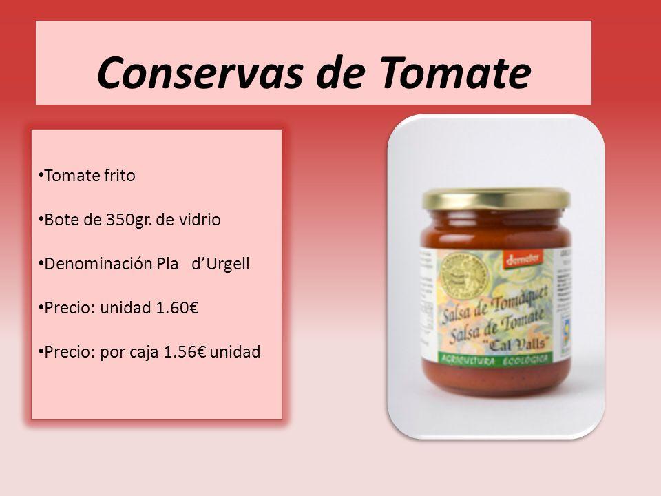 Conservas de Tomate Tomate frito Bote de 350gr. de vidrio Denominación Pla dUrgell Precio: unidad 1.60 Precio: por caja 1.56 unidad Tomate frito Bote