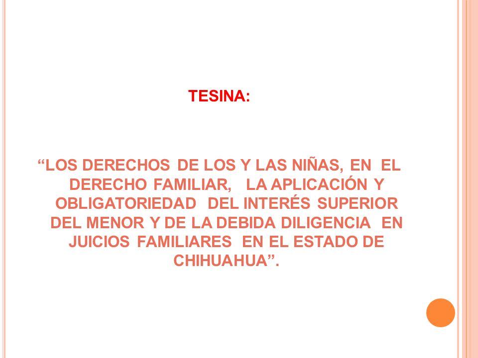 TESINA: LOS DERECHOS DE LOS Y LAS NIÑAS, EN EL DERECHO FAMILIAR, LA APLICACIÓN Y OBLIGATORIEDAD DEL INTERÉS SUPERIOR DEL MENOR Y DE LA DEBIDA DILIGENC